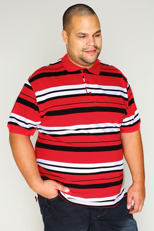 Red, White & Black Stripe Short Sleeve Polo Shirt