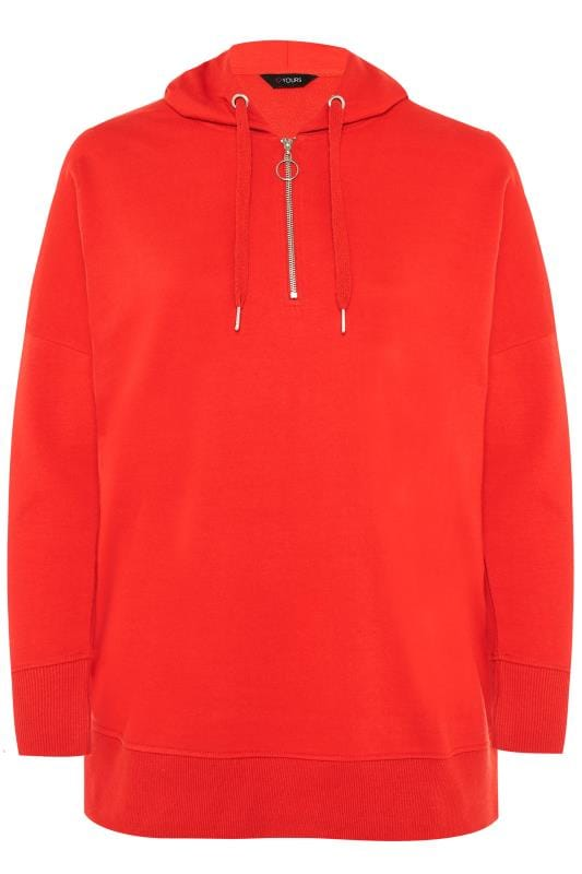 Plus Size Hoodies & Jackets Red Zip Up Overhead Hoodie