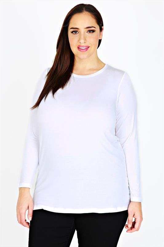 White Long Sleeve Soft Jersey Basic Top