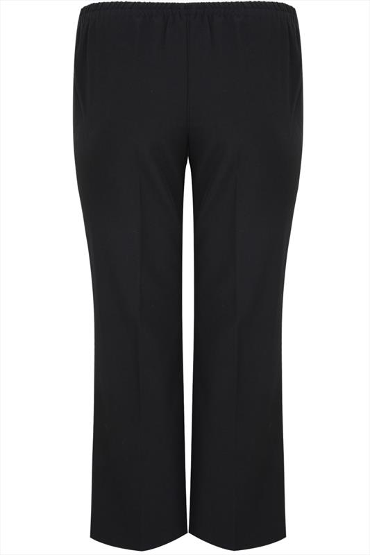 Black Classic Straight Leg Trousers With Elasticated
