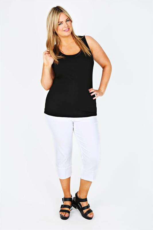 White Pull On Stretch Cropped Trousers