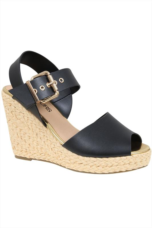 Black High Wedge Espadrille Sandal In EEE Fit