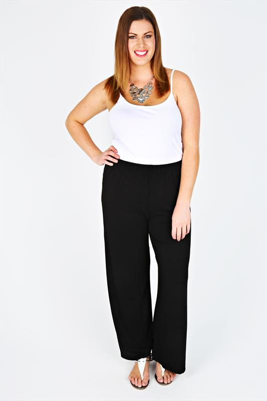 Black Jersey Palazzo Trousers With Elasticated Waist
