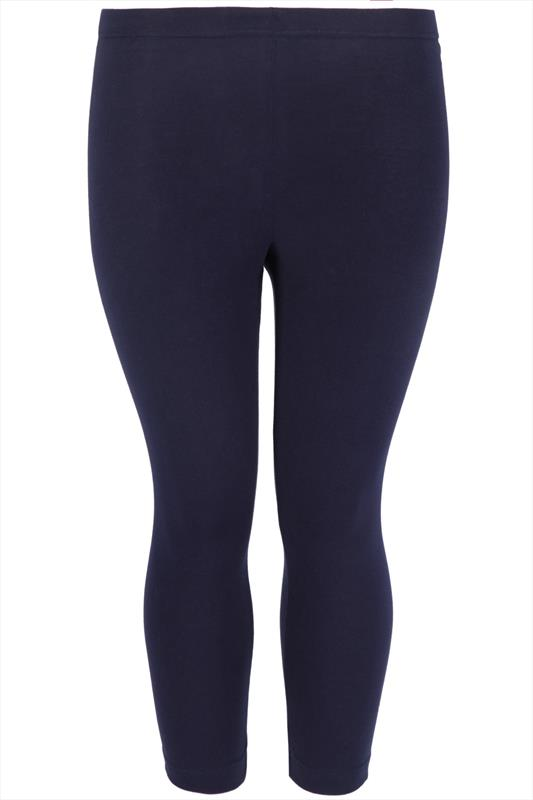 Navy Soft Touch Cropped Leggings Plus Size 16 To 32