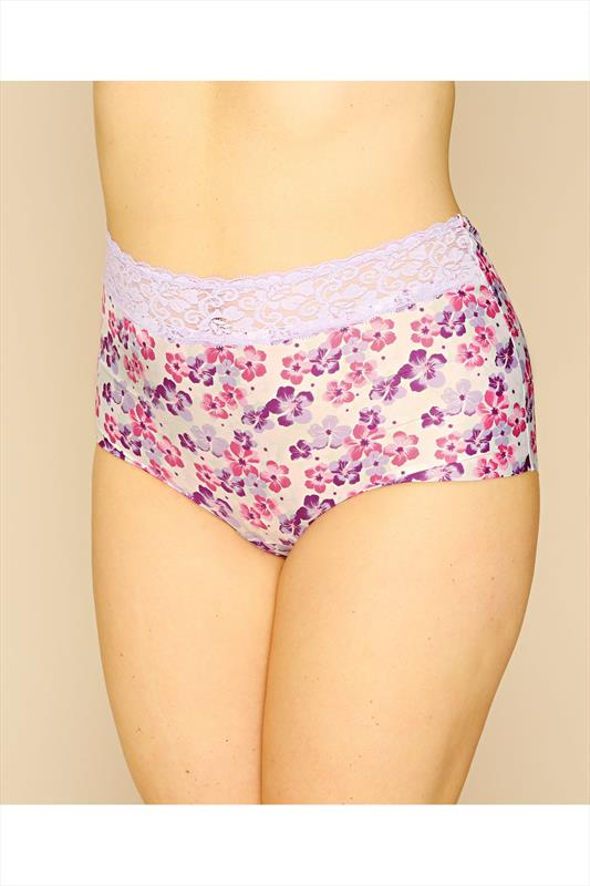 White & Purple Floral Print No VPL Brief With Lace Trim