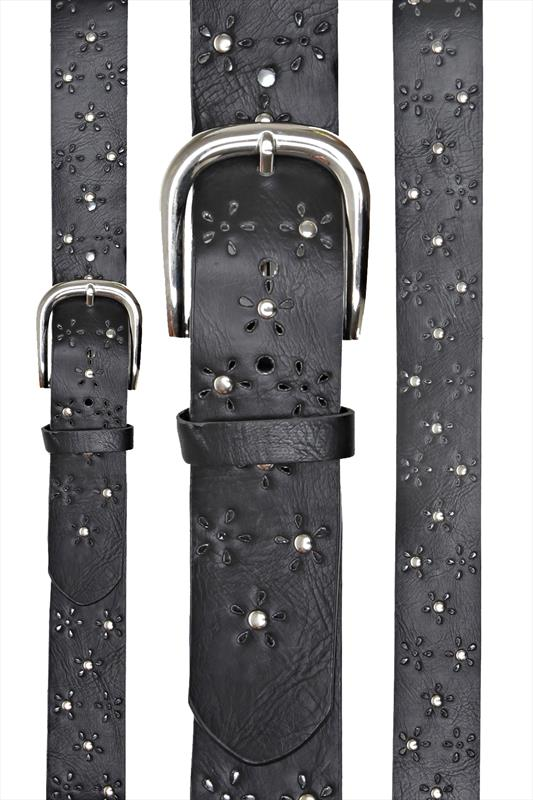 Belts Black Jean Belt With Floral Cut Out And Silver Stud Detail 049181