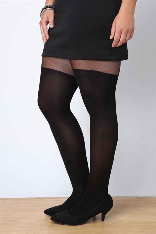 Black plain over the knee tights