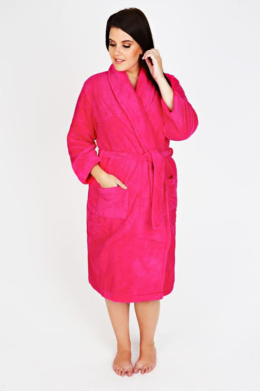 Bright Pink Super Soft Fleece Dressing Gown With Pockets Plus size ...