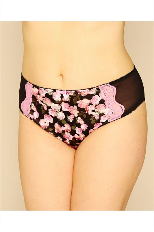 Pink Rose Print Satin and Mesh Briefs