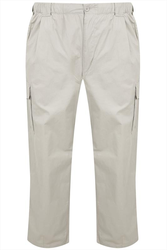 Stone Full Length Combat Trousers With Side Pockets