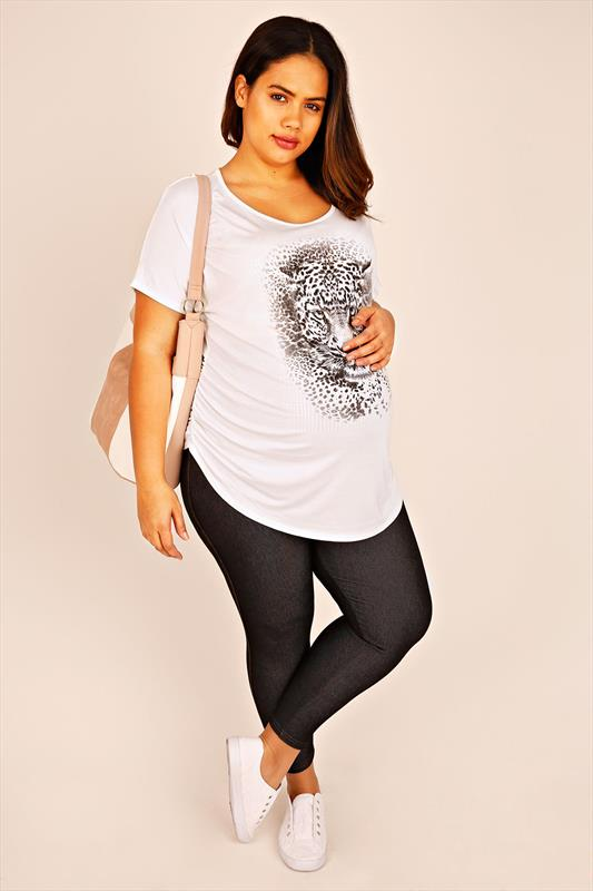 BUMP IT UP MATERNITY Ivory Leopard Print Short Sleeve Top With Shimmer Disc Overlay
