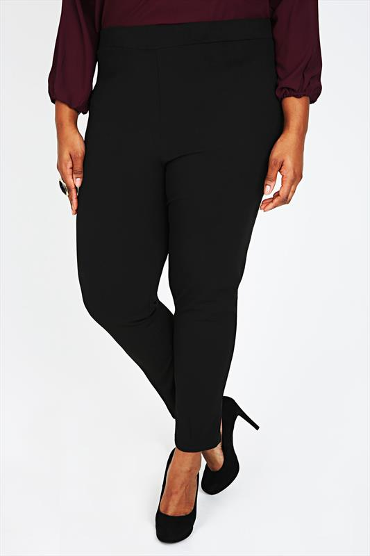 Black Stretch Jersey Slim Leg Trousers