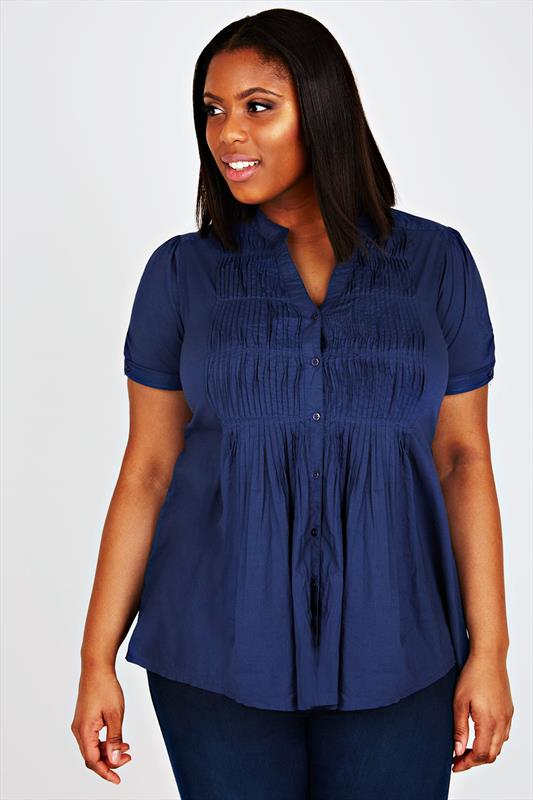 Navy Short Sleeve Pin Tuck Blouse