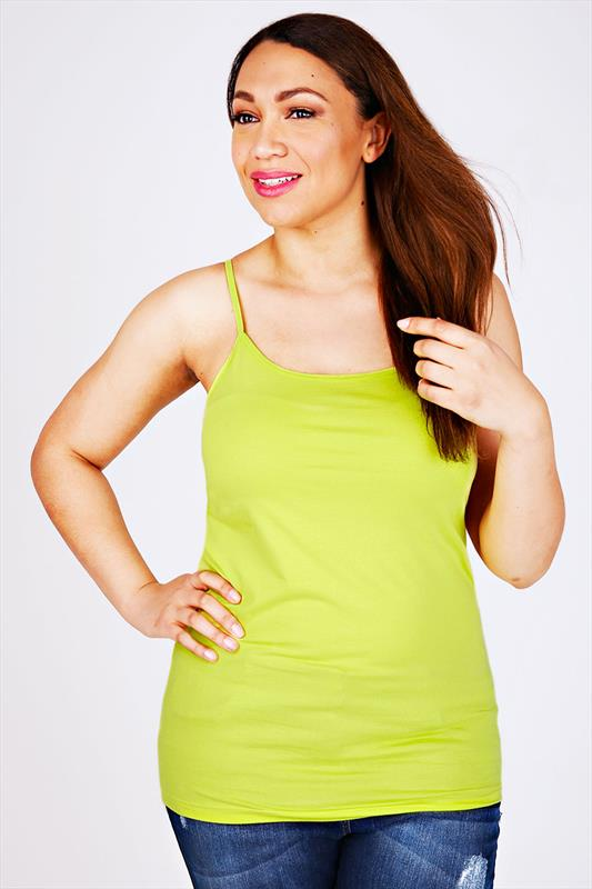 Lime Yellow Longline Cotton Elastane Vest Top With Adjustable Straps