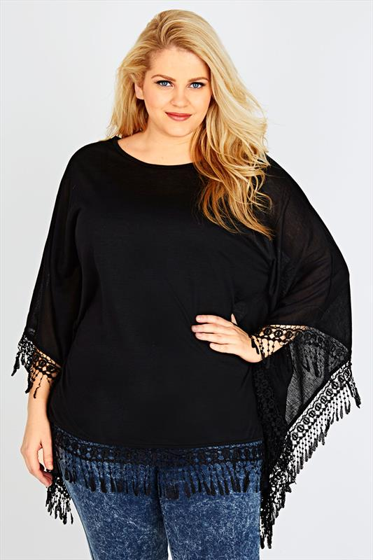 Black Poncho With Crochet Tassel Hem