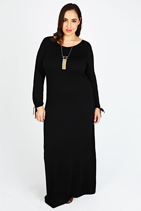 Black Long Sleeve Maxi Dress With Gathered Sleeves Plus size 14,16 ...