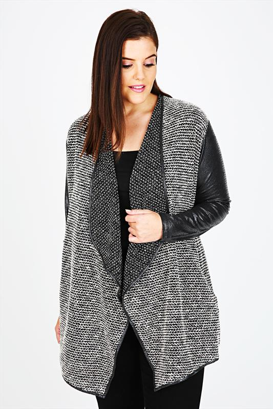 Black & White Textured Waterfall Jacket With Contrasting Sleeves