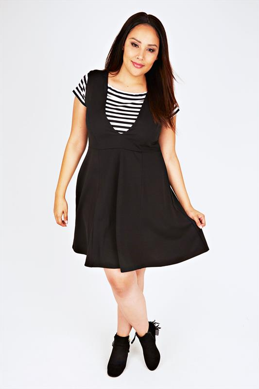 Black Deep V-Neck Skater Layering Dress