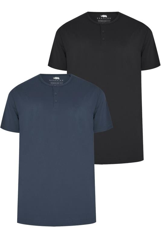 T-Shirts 2 PACK BadRhino Black & Denim Blue Short Sleeve Grandad T-Shirt 200568