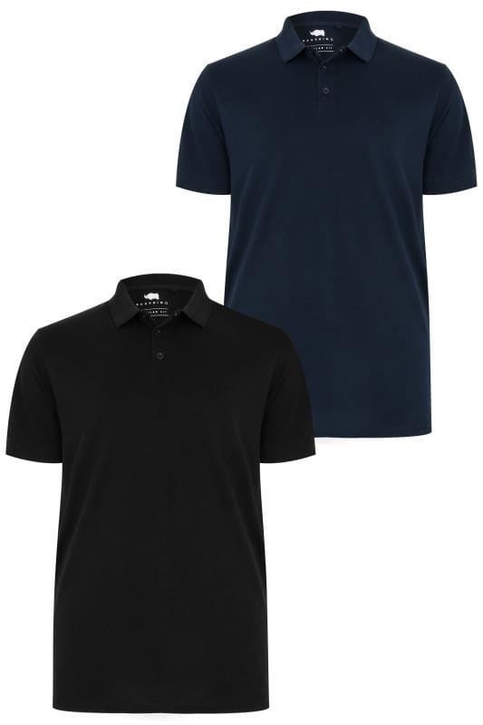 Polo Shirts 2 PACK BadRhino Black & Navy Basic Polo Shirt 200574