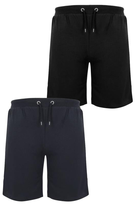 Jersey Shorts 2 PACK BadRhino Black & Navy Basic Sweat Shorts With Pockets 200582