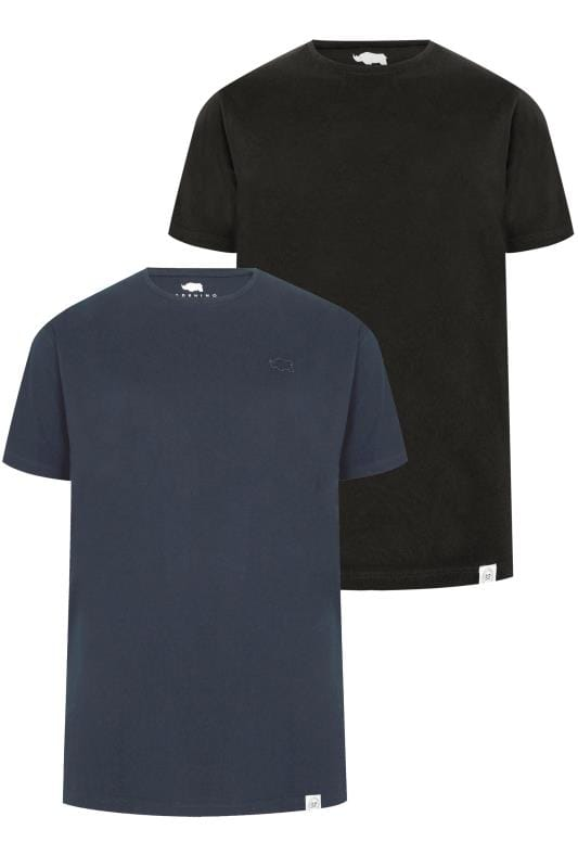 2 PACK BadRhino Black & Navy Crew Neck Basic T-Shirt
