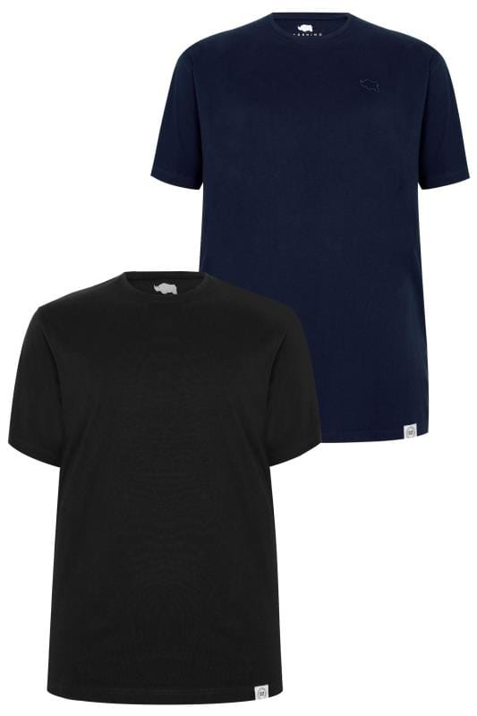 T-Shirts 2 PACK BadRhino Black & Navy Crew Neck Basic T-Shirt 200563