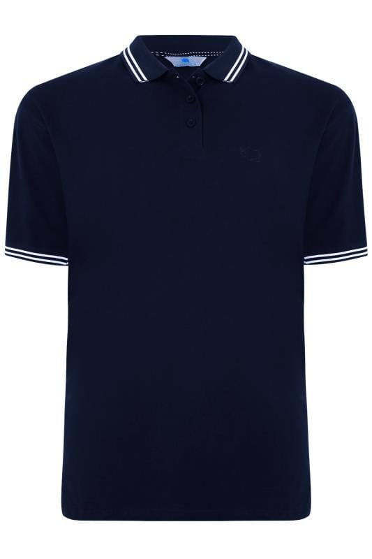 2 PACK BadRhino Black & Navy Polo Shirt With Stripe Detail