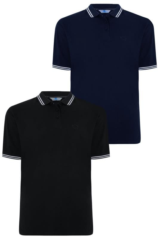 Polo Shirts 2 PACK BadRhino Black & Navy Polo Shirt With Stripe Detail  200577