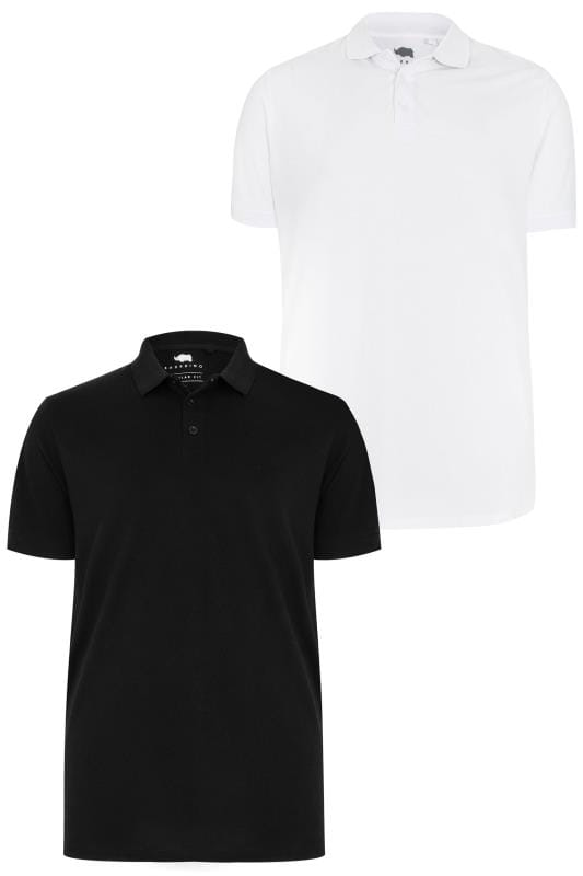 Polo Shirts 2 PACK BadRhino Black & White Basic Polo Shirt 200573