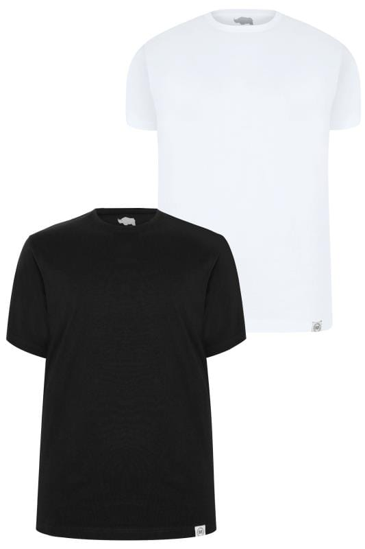 2 PACK BadRhino Black & White Crew Neck Basic T-Shirt