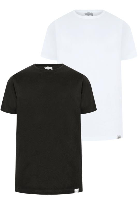 T-Shirts 2 PACK BadRhino Black & White Crew Neck Basic T-Shirt 200562