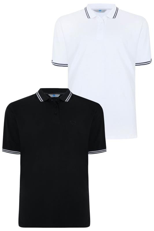 2 PACK BadRhino Black & White Polo Shirt With Stripe Detail