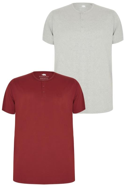 2 PACK BadRhino Grey Marl & Burgundy Short Sleeve Grandad T-Shirt