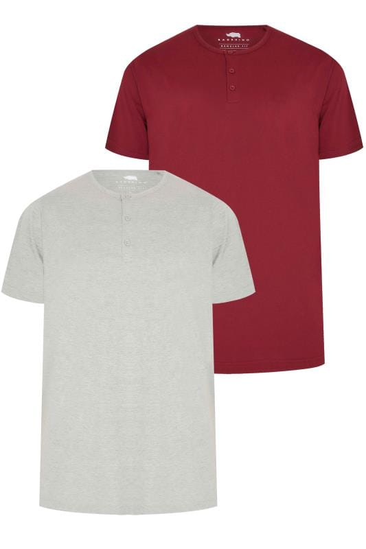 T-Shirts 2 PACK BadRhino Grey Marl & Burgundy Short Sleeve Grandad T-Shirt 200569