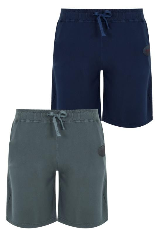 Jogger Shorts 2 PACK BadRhino Navy & Grey Jersey Shorts With Pockets & Logo Detail 200583
