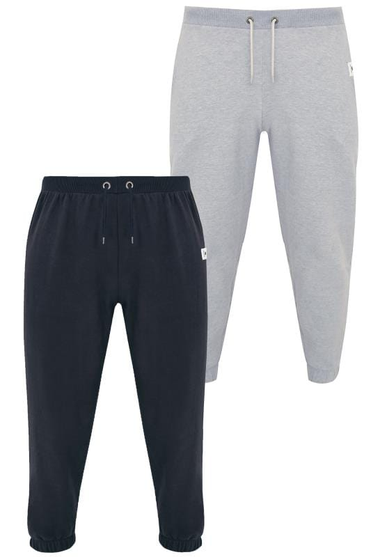 Joggers 2 PACK BadRhino Navy & Grey Marl Basic Sweat Joggers With Pockets 200579