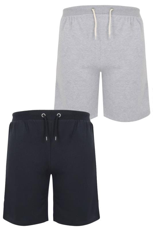 Jersey Shorts 2 PACK BadRhino Navy & Grey Marl Basic Sweat Shorts With Pockets 200581
