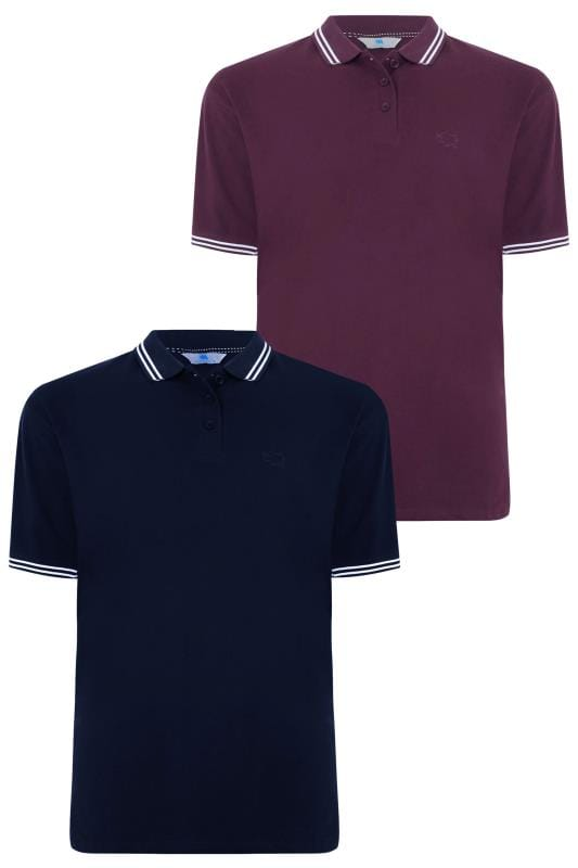 2 PACK BadRhino Purple & Navy Polo Shirt With Stripe Detail