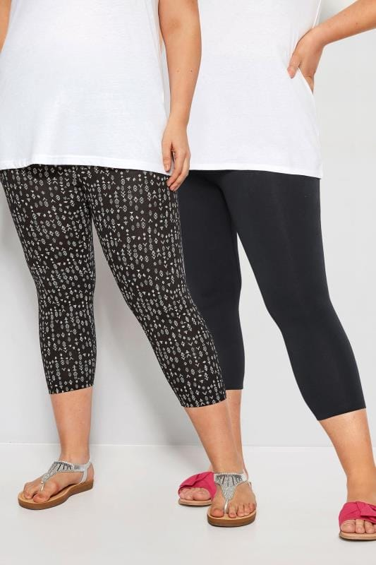d03121e900883 Plus Size Fashion Leggings 2 PACK Black Aztec Cropped Leggings