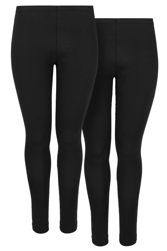 2 PACK Black Cotton Elastane Leggings