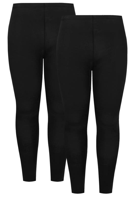 Plus Size Basic Leggings 2 PACK Black Cotton Essential Leggings