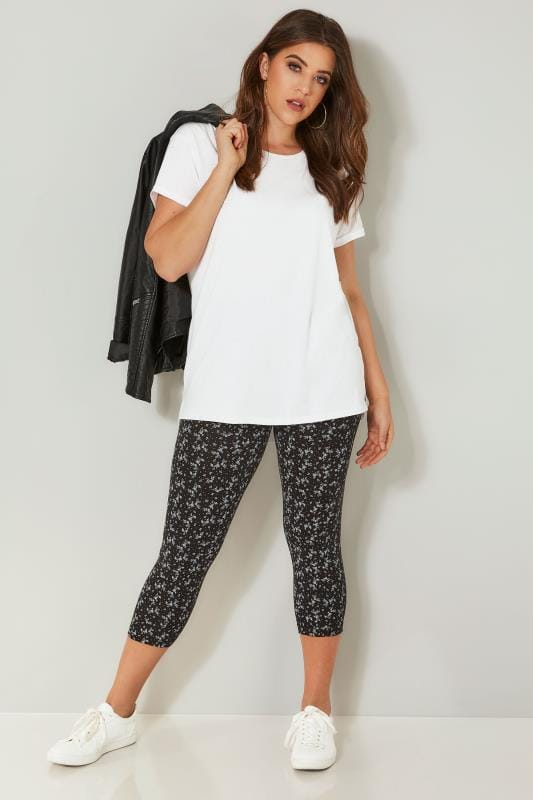 2 PACK Black Cotton Essential Printed Cropped Leggings
