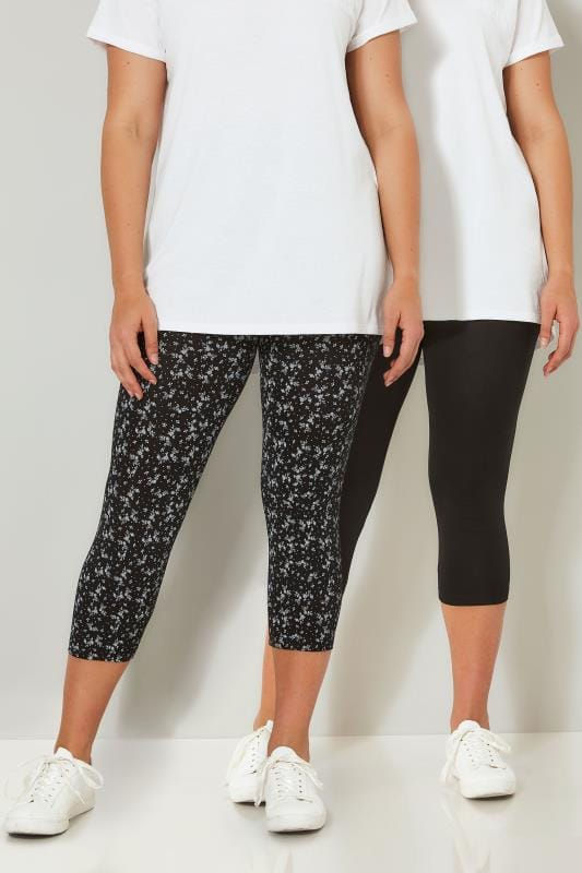 Plus Size Basic Leggings 2 PACK Black Cotton Essential Printed Cropped Leggings