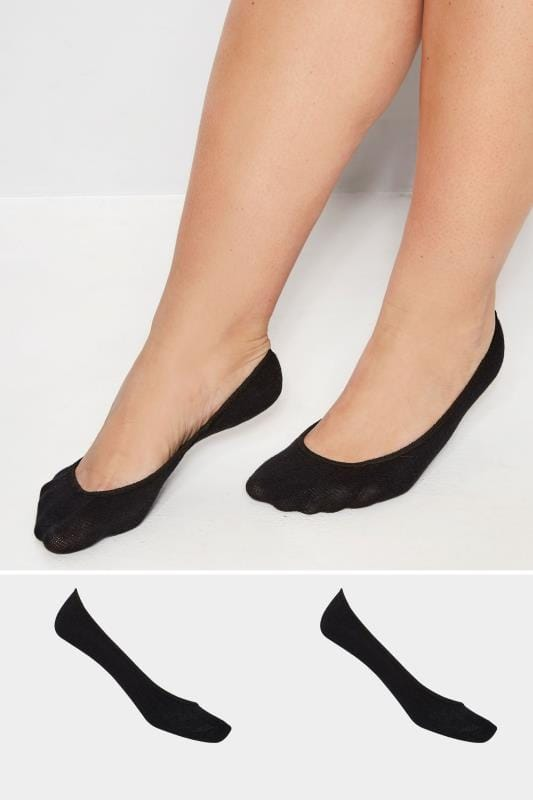 Plus Size Socks 2 PACK Black Footsie Socks