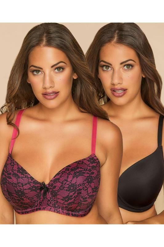 Plus Size Plus Size Multipack Bras 2 PACK Black & Hot Pink Lace Effect Underwired Bras With Moulded Cups