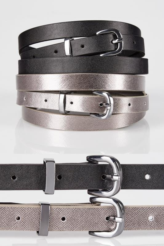 2 PACK Black & Metallic Skinny Belts