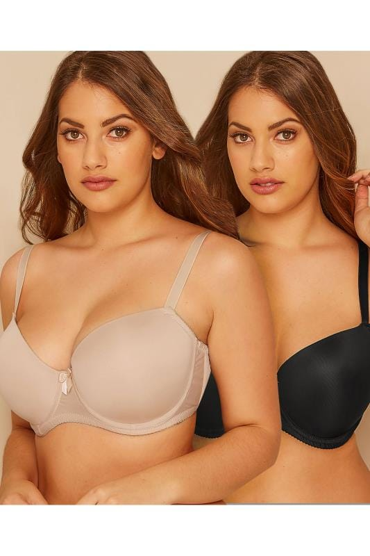 Plus Size Plus Size Multipack Bras 2 PACK Black & Nude Moulded T-Shirt Bra