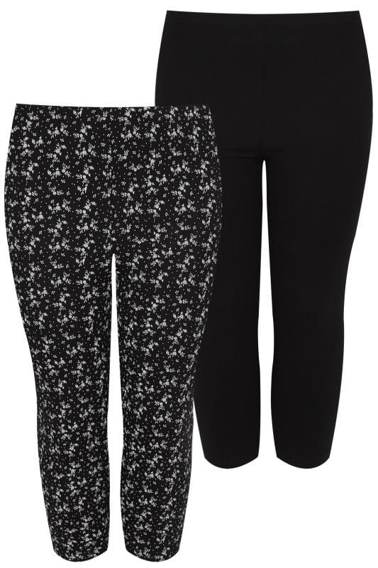 Großen Größen Basic-Leggings 2 PACK Black Cotton Essential Printed Cropped Leggings