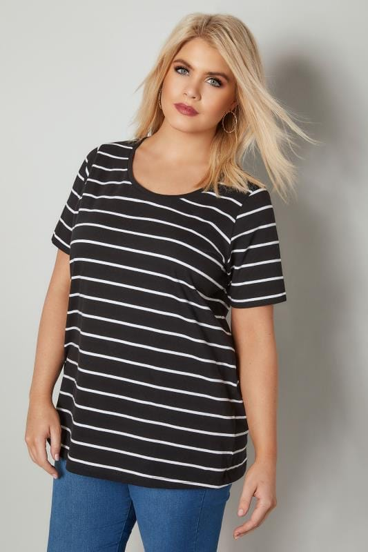 2 PACK Black & White Stripe & Plain T-Shirt